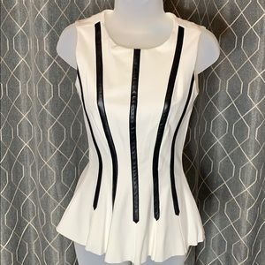 Antonio Melani White Peplum Top w/ Leather Accent